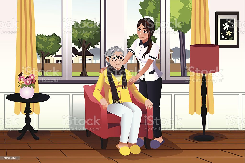 Woman taking care of a senior lady vector art illustration