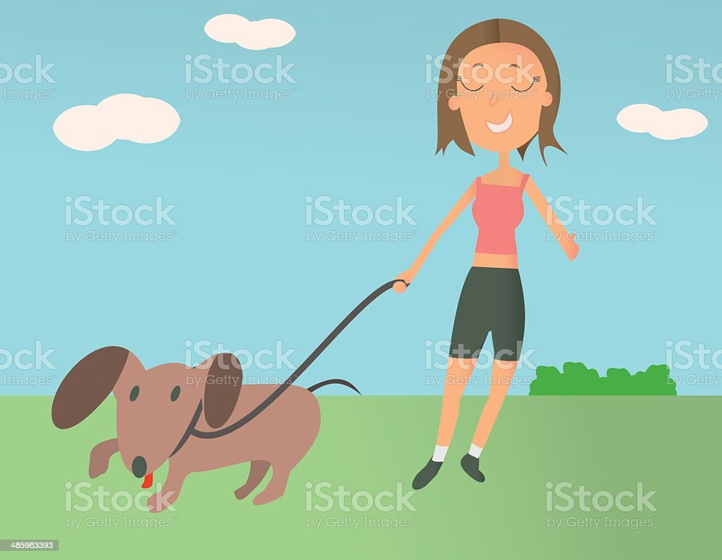 Woman Taking Her Dog For a Walk royalty-free stock vector art