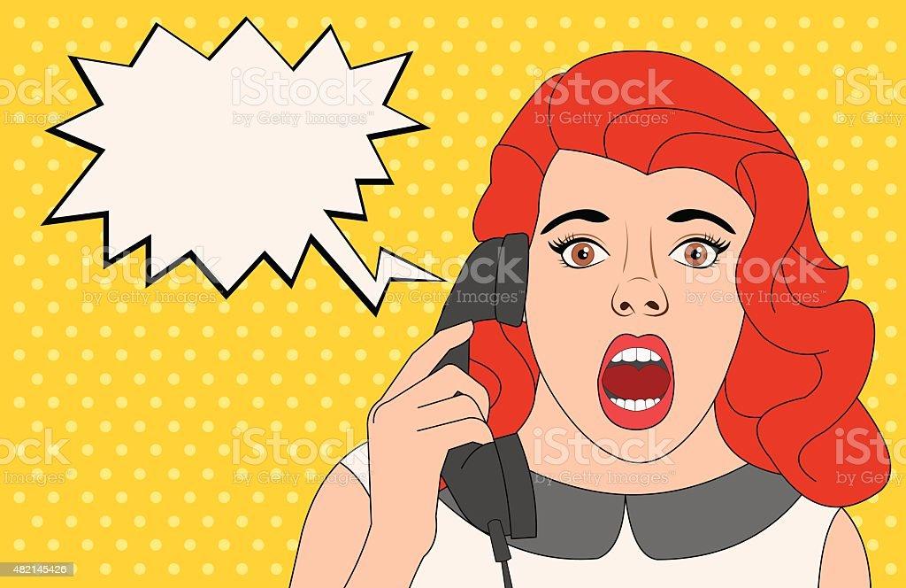 woman talking on telephone vector art illustration