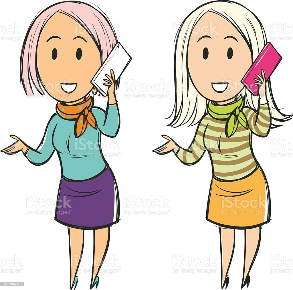 Woman Talking On The Phone Smiling Cartoon stock vector