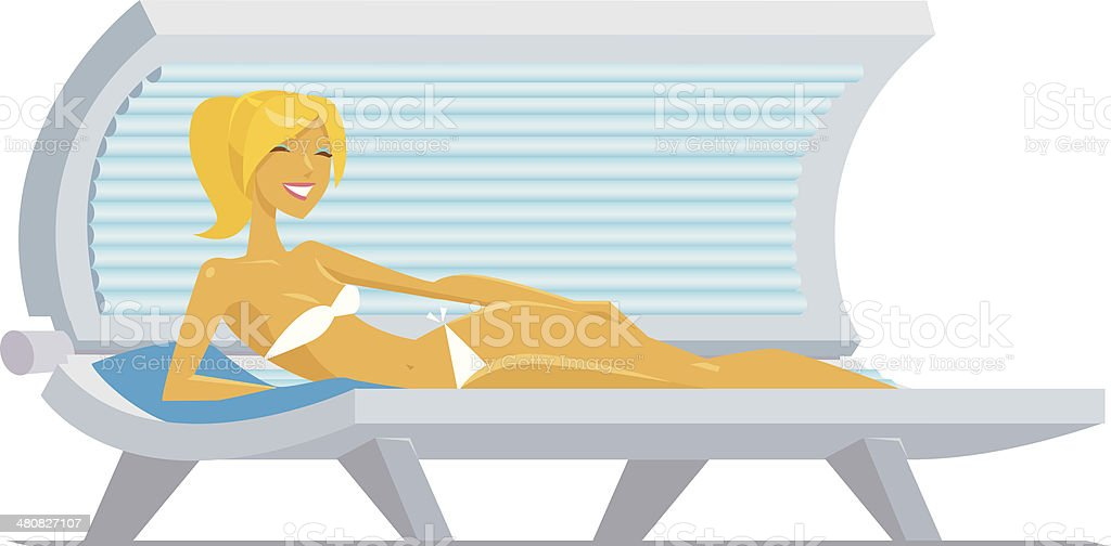 Woman Tanning Bed C vector art illustration