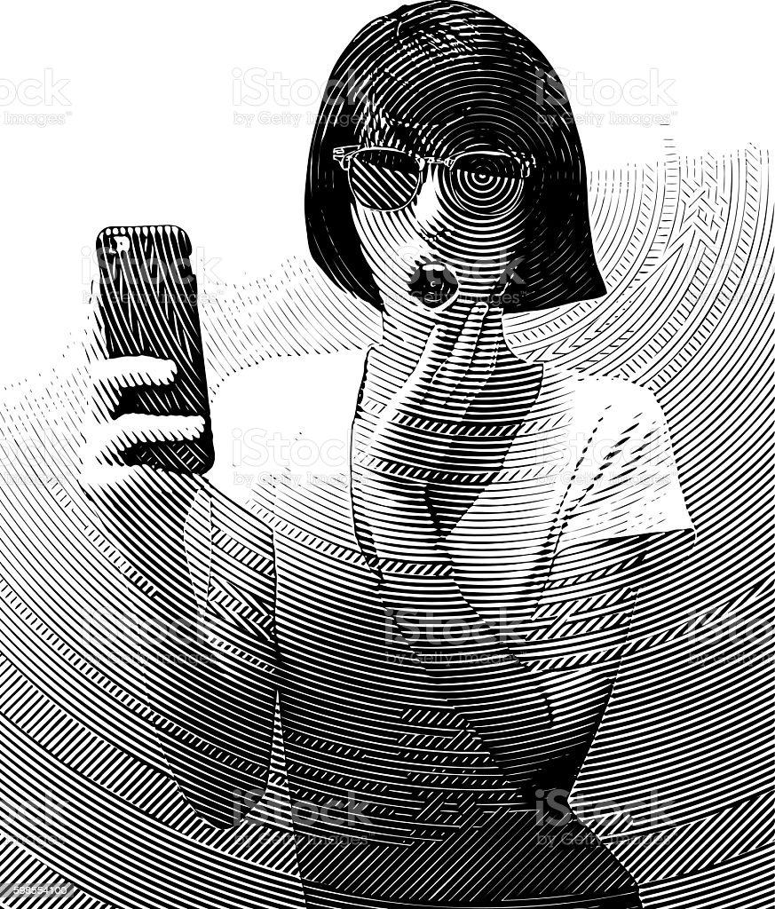 Woman Texting on Smart Phone with Surprised Expression vector art illustration