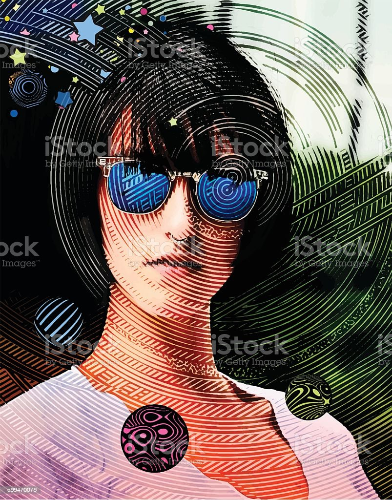 Woman Thinking about Mobile Gaming vector art illustration
