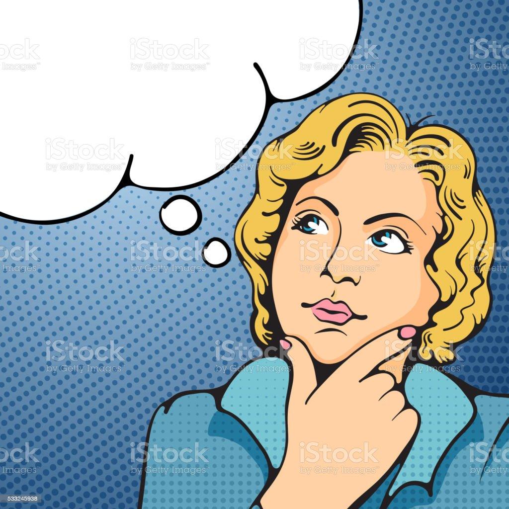 Woman thinking vector art illustration
