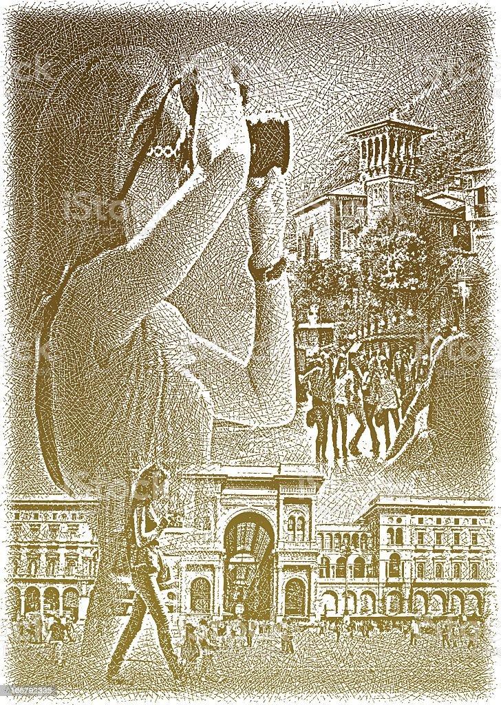 Woman Tourist Taking Photographs vector art illustration