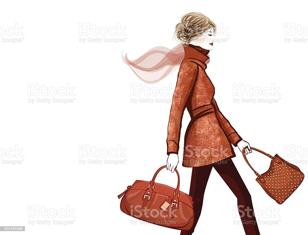 Woman traveling with bag vector art illustration