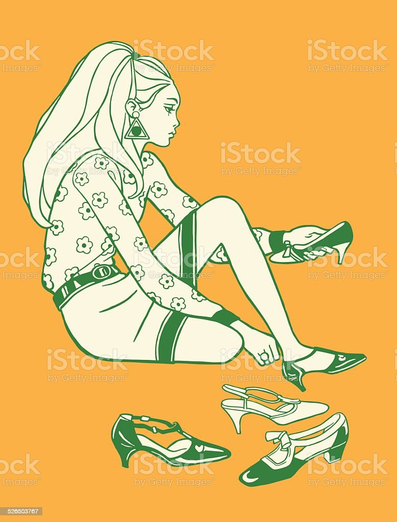 Woman Trying on Shoes vector art illustration