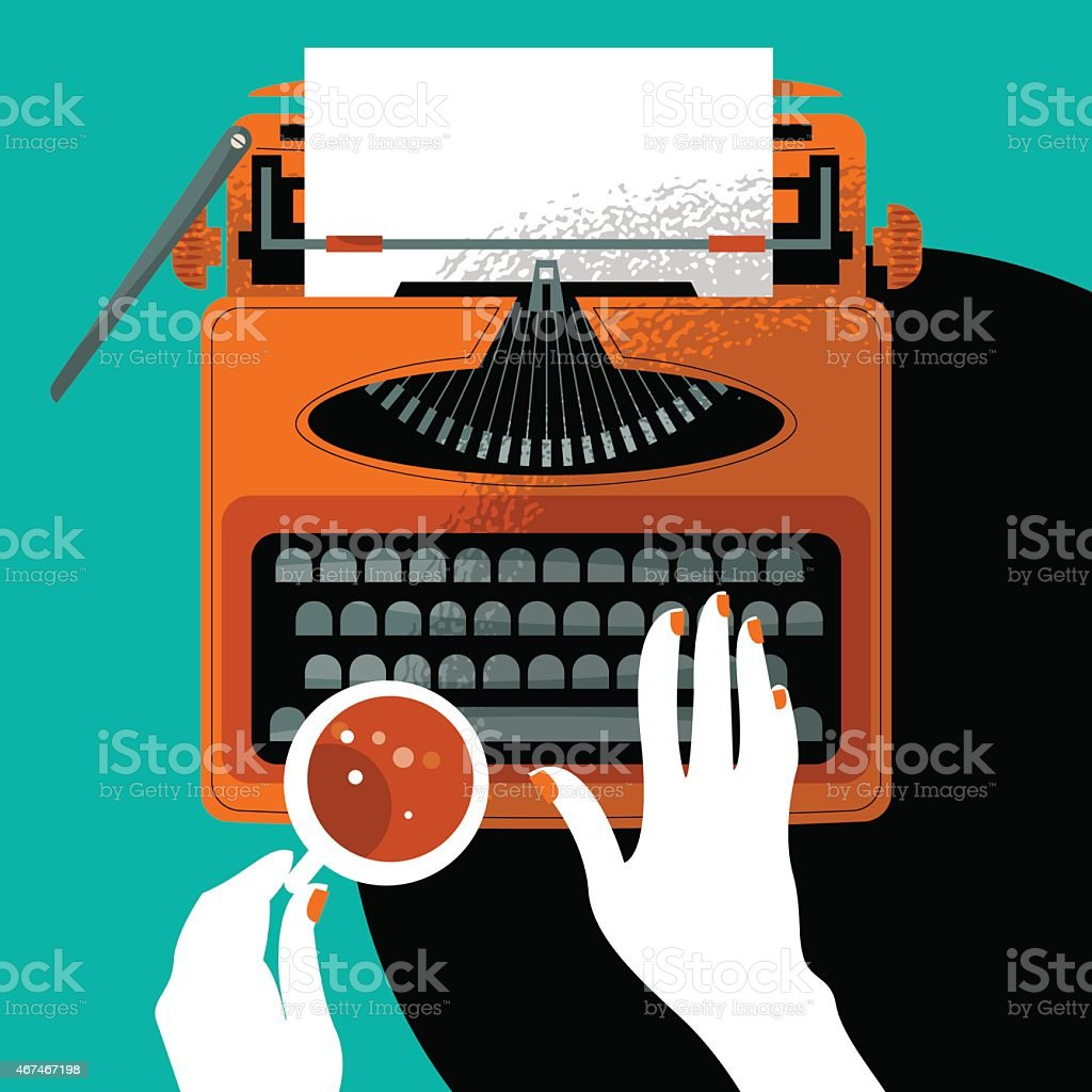 Woman typing on a vintage typewriter and holding a cup. vector art illustration