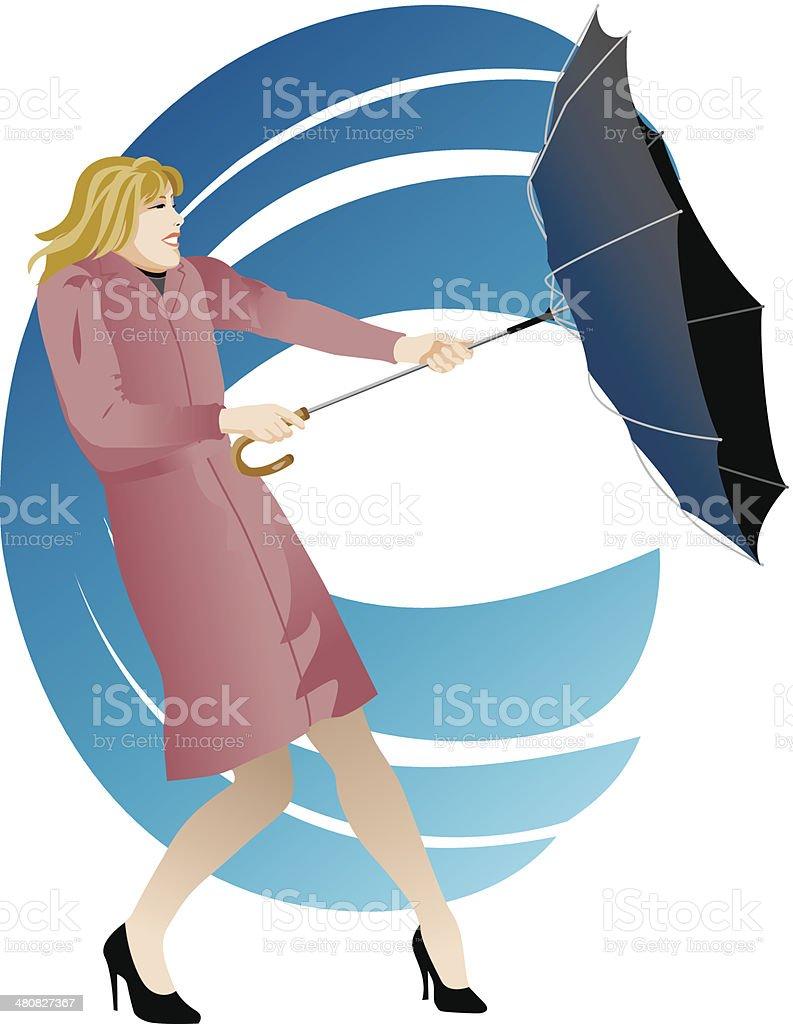Woman Umbrella Wind C vector art illustration
