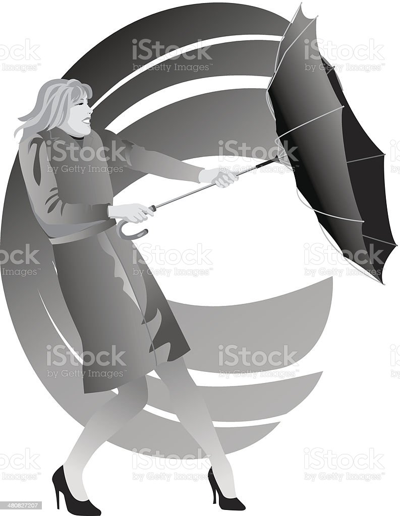 Woman Umbrella Wind vector art illustration