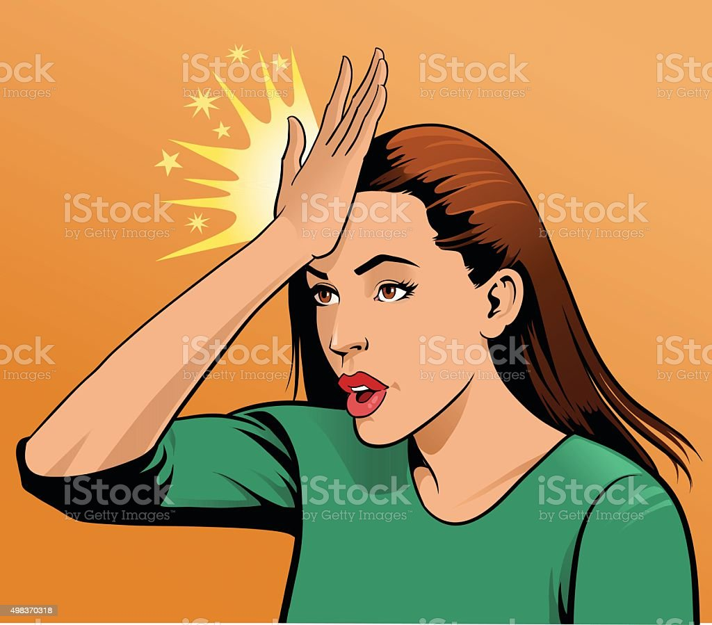 Woman Upset Hitting Forehead With Her Hand vector art illustration