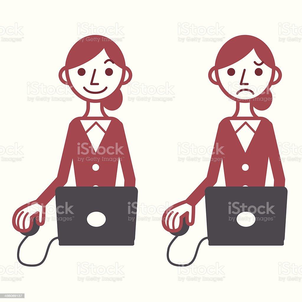 Woman using computer vector art illustration