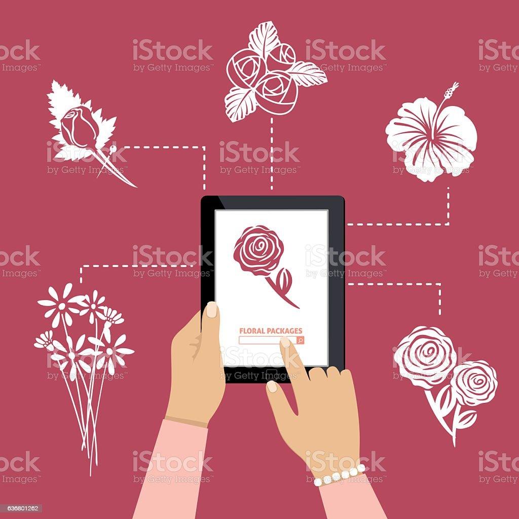 Woman Using Online Apps For Wedding Arrangements vector art illustration