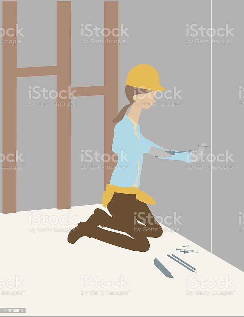 Woman Using Screwdriver royalty-free stock vector art