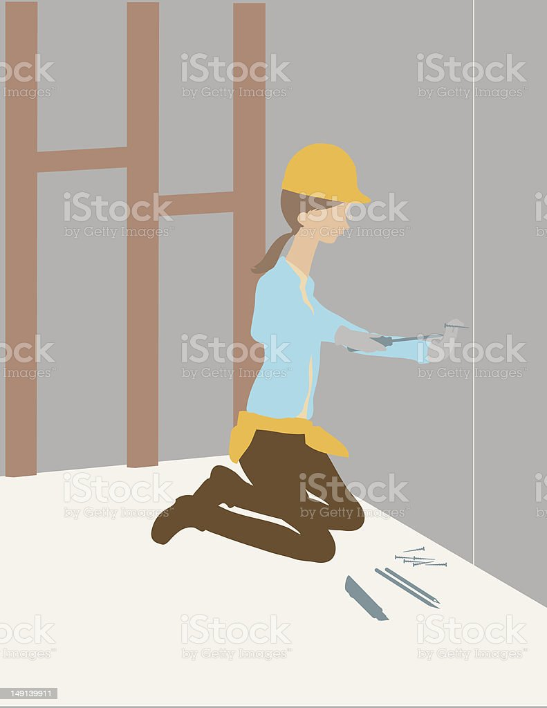 Woman Using Screwdriver vector art illustration