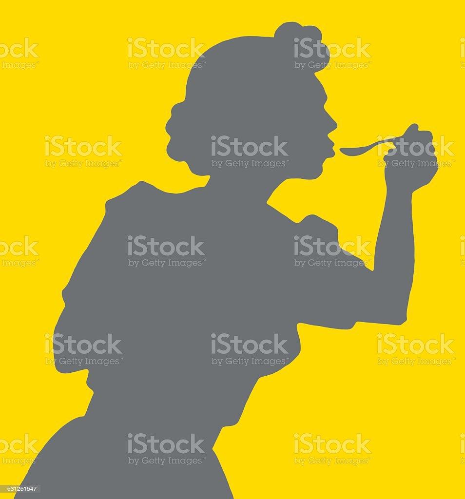 Woman Using Spoon vector art illustration