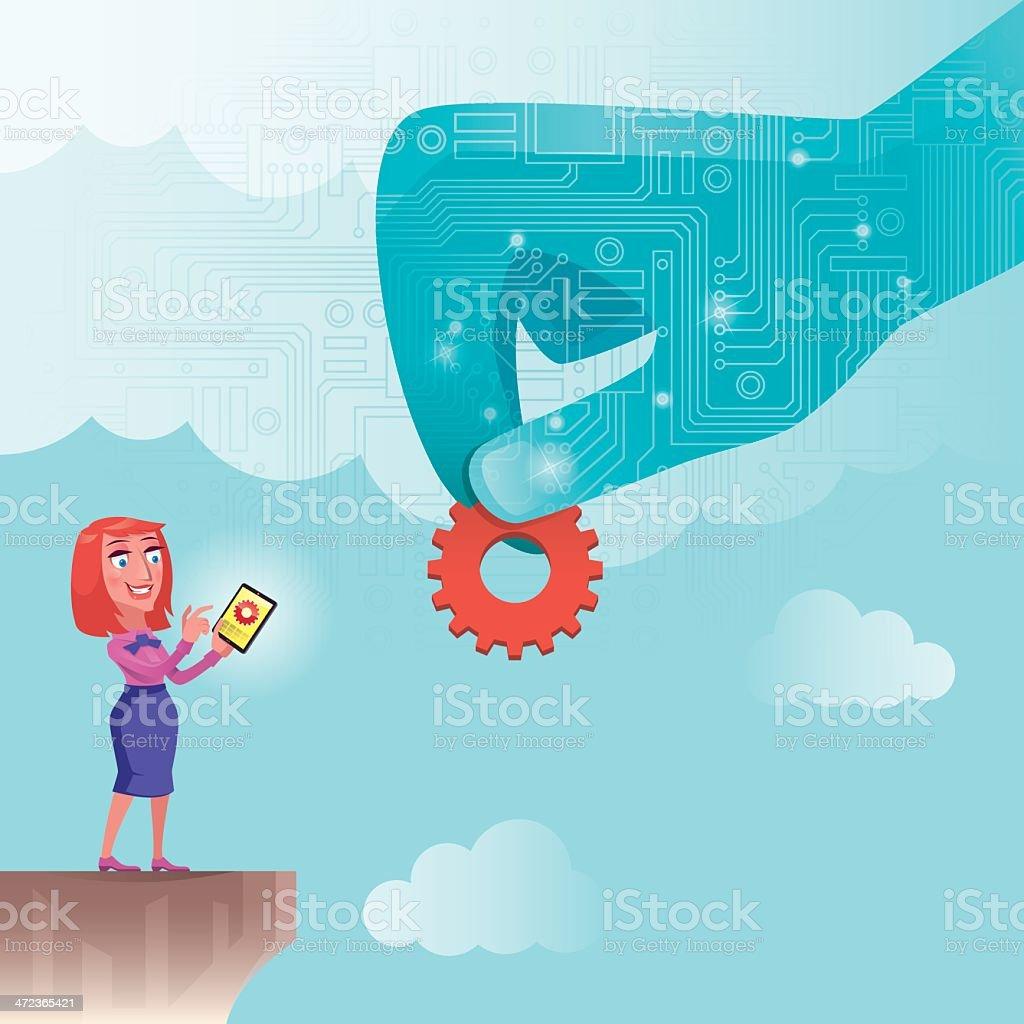 woman using tablet computer vector art illustration
