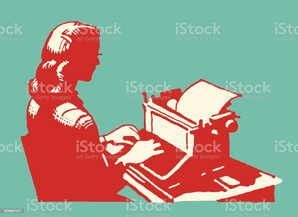 Woman Using Typewriter at Office Desk vector art illustration