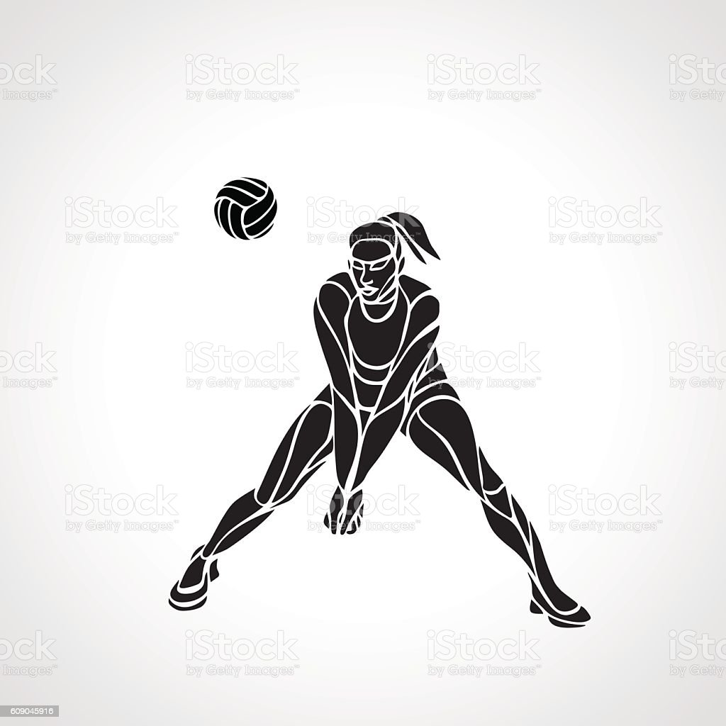 Woman volleyball player silhouette passing ball vector art illustration