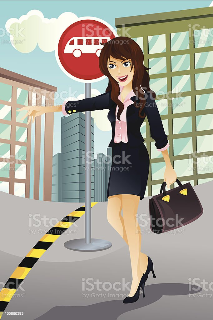 Woman waiting for a bus vector art illustration