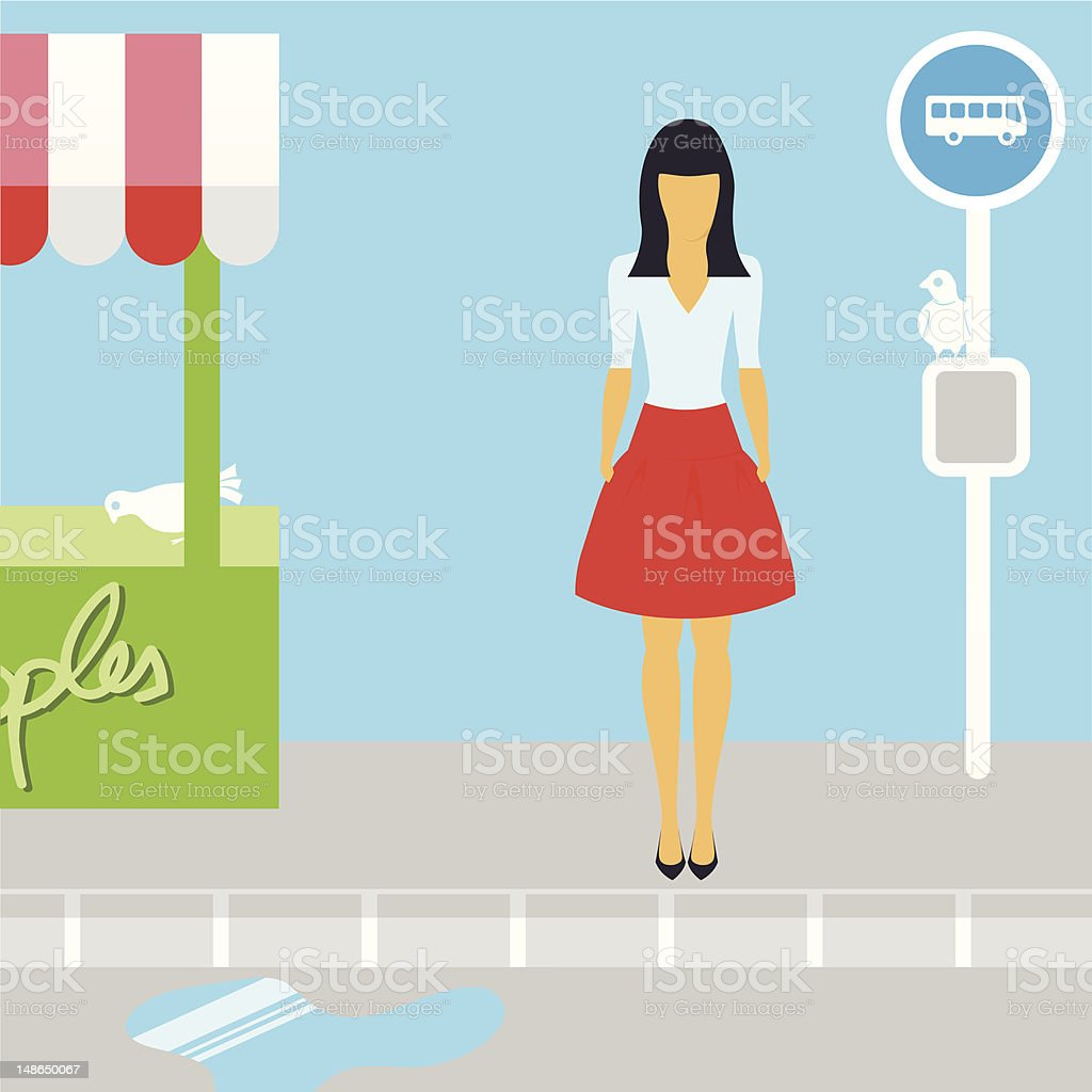 Woman waiting in Bus Stop royalty-free stock vector art