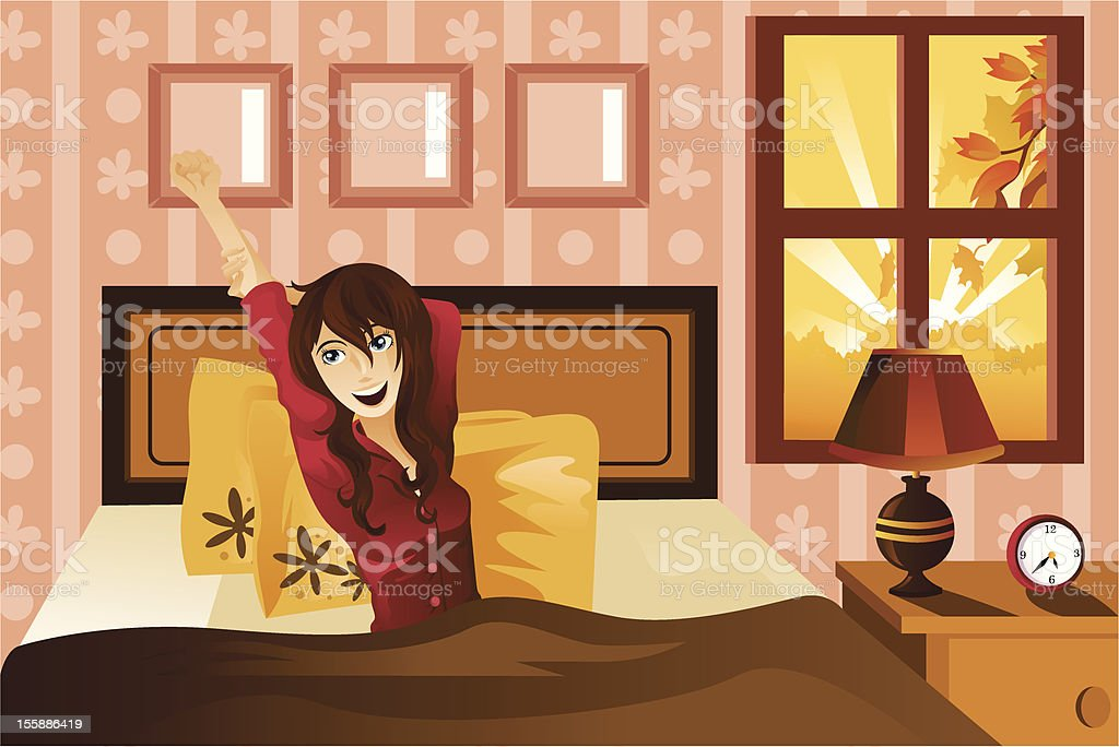 Woman waking up in the morning royalty-free stock vector art