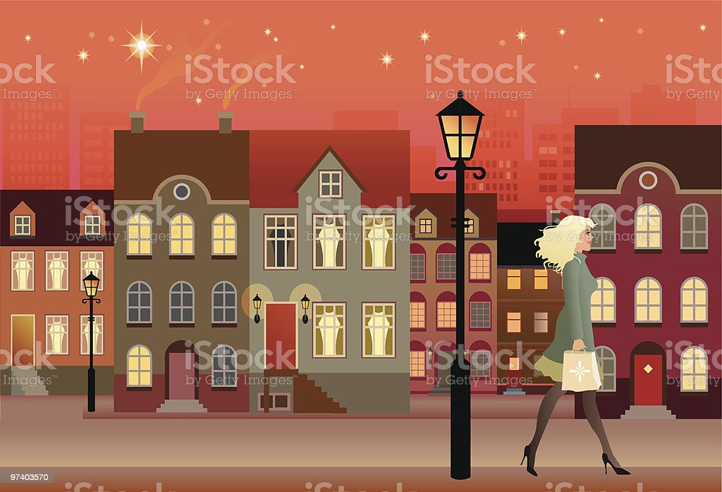 Woman Walking Down Street with Townhouses at Night vector art illustration