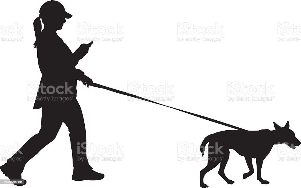 Woman Walking Her Dog vector art illustration