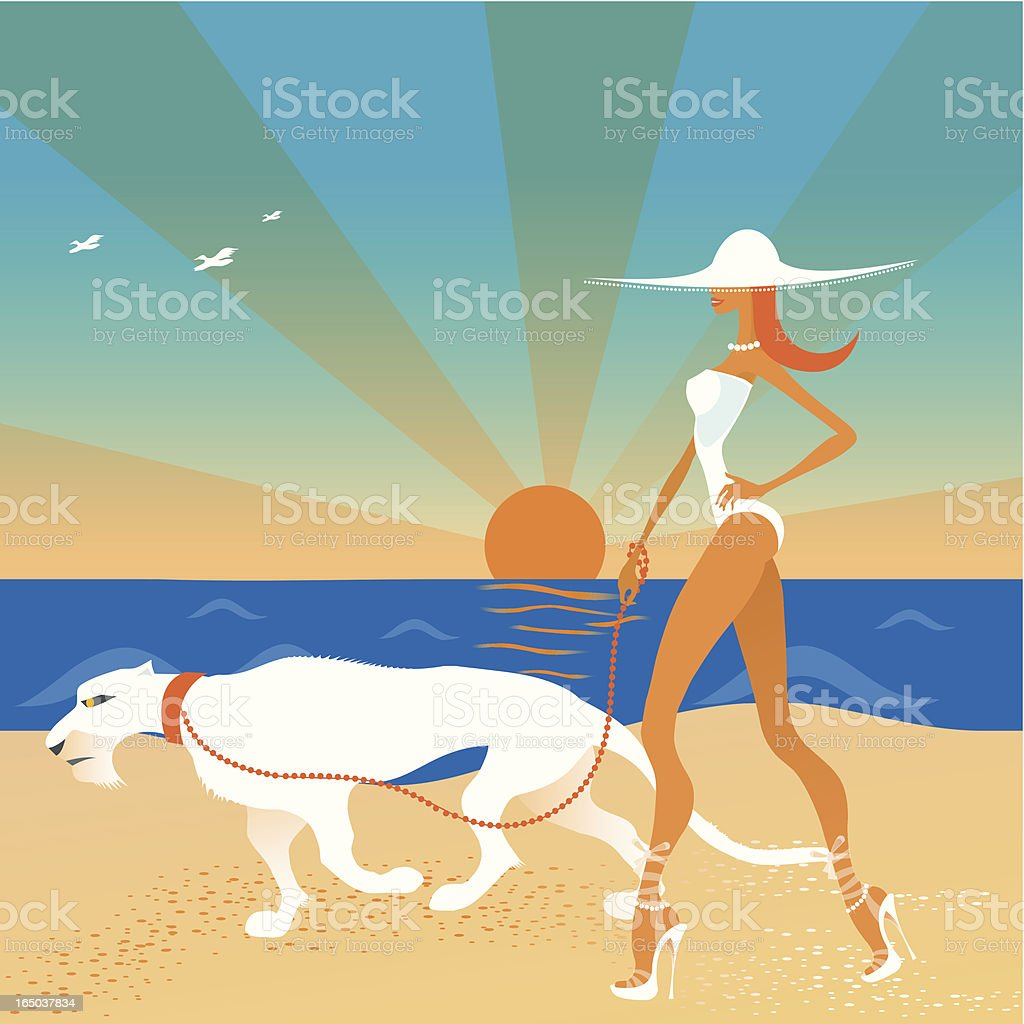 Woman walking her exotic friend on the beach royalty-free stock vector art