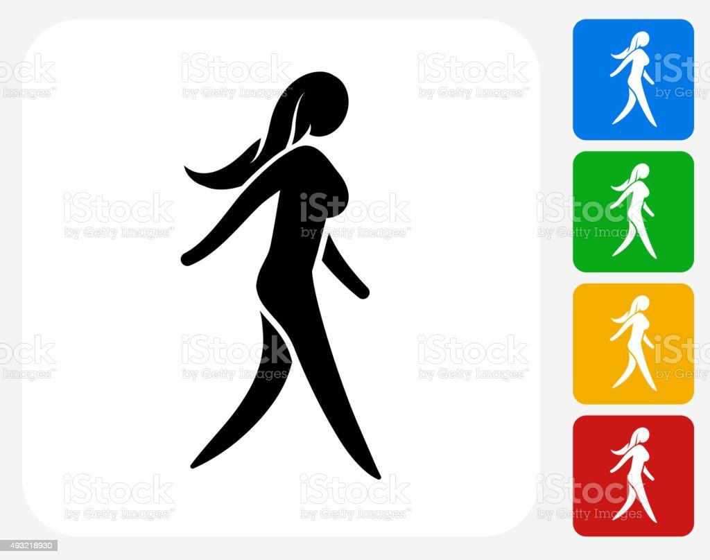 Woman Walking Icon Flat Graphic Design vector art illustration