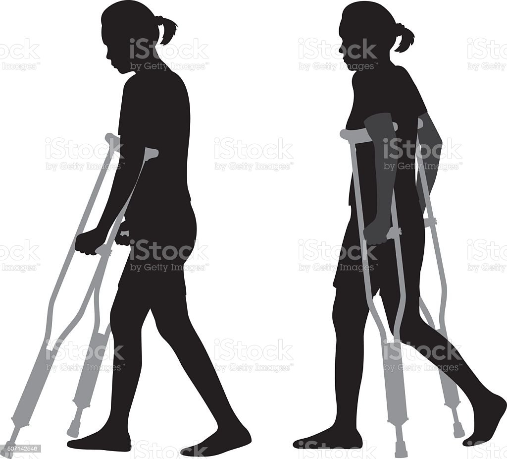 Woman Walking on Crutches Silhouettes vector art illustration