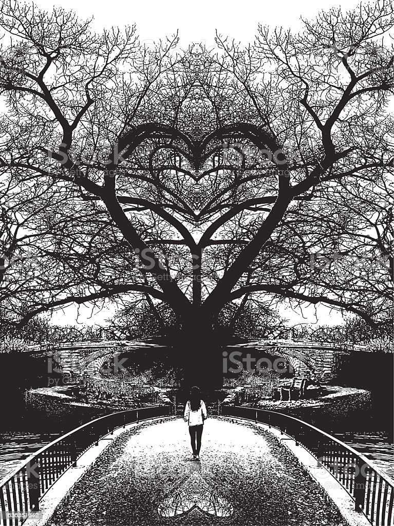 Woman walking toward heart shaped tree and romance vector art illustration