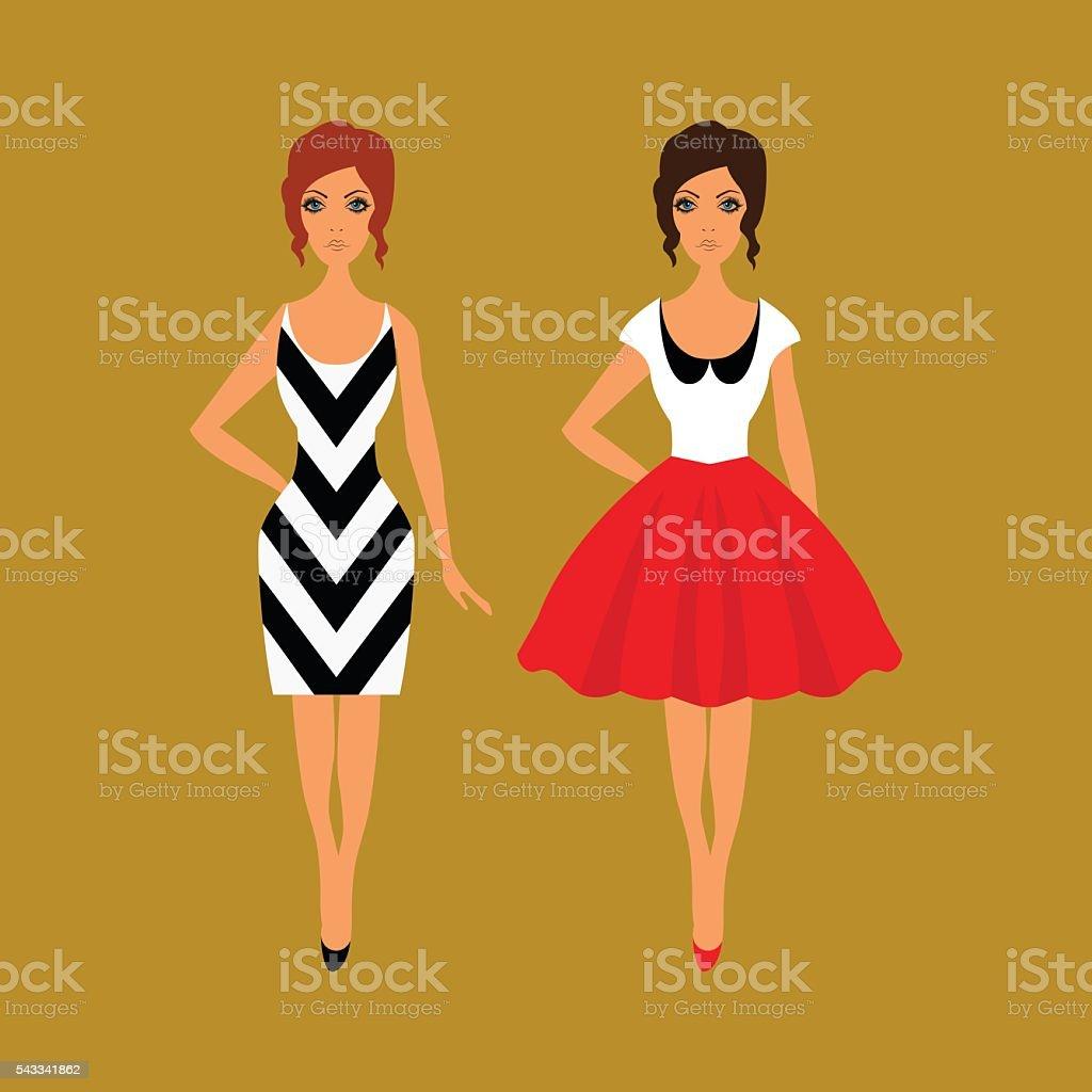 Woman wardrobe accessories set vector art illustration