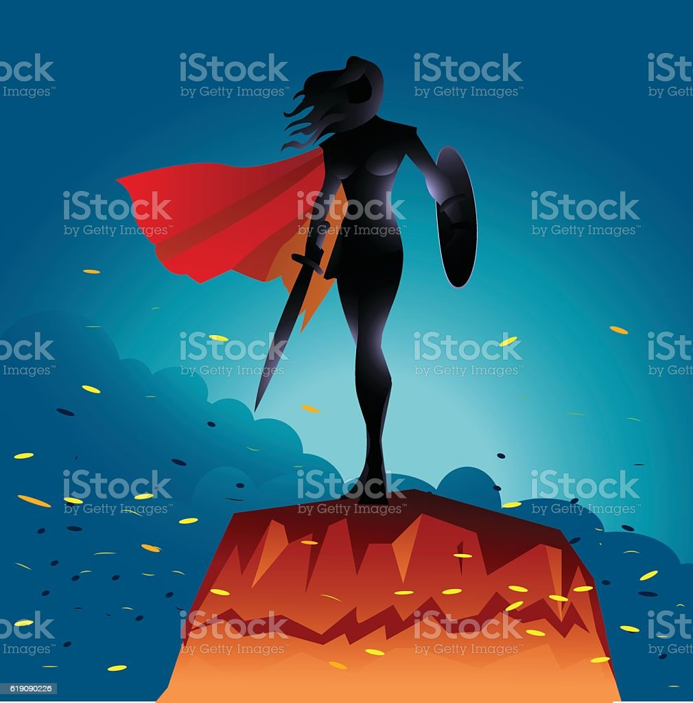 Woman Warrior Superhero Silhouette with Fire Sparks vector art illustration