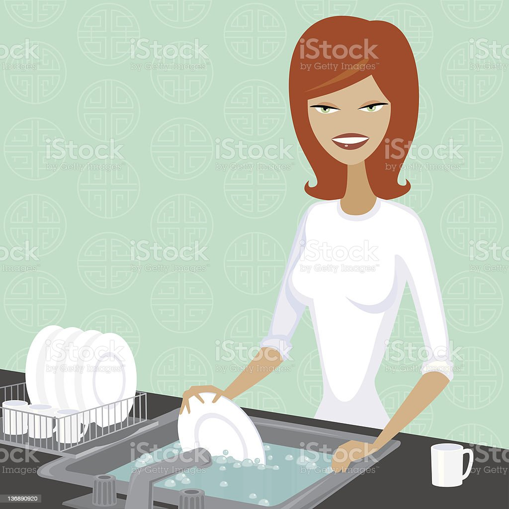 Woman Washing Dishes royalty-free stock vector art
