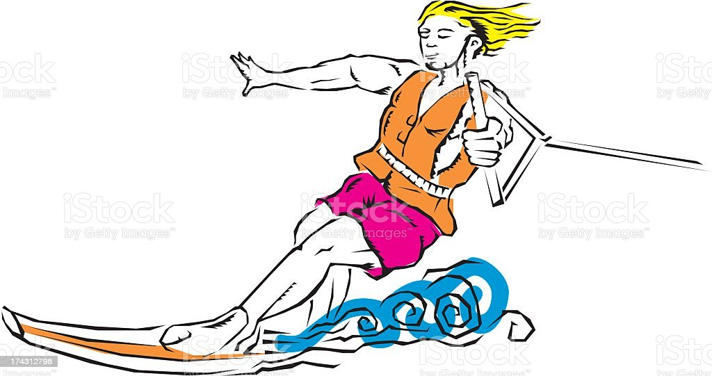 Woman Waterskiing royalty-free stock vector art