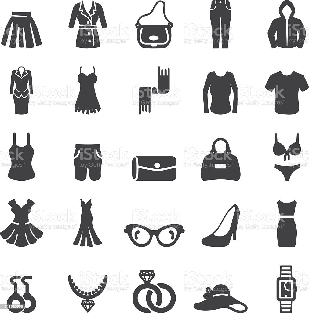 Woman Wear And Accessories Silhouette icons | EPS10 vector art illustration
