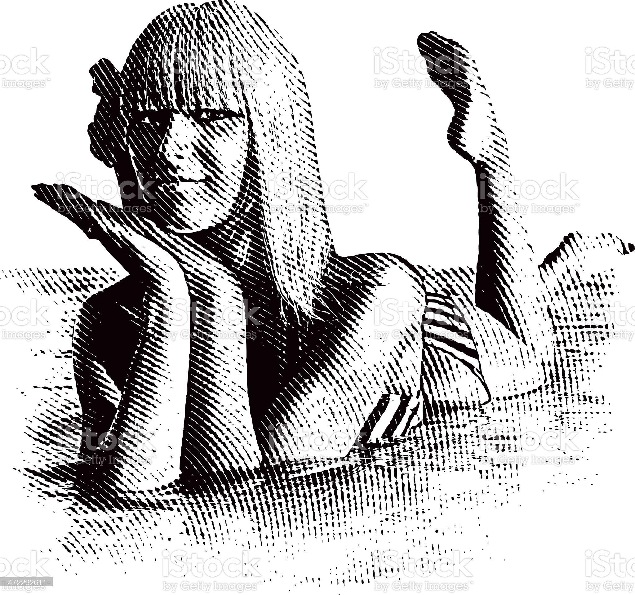 Woman Wearing Bikini Lying In Water royalty-free stock vector art