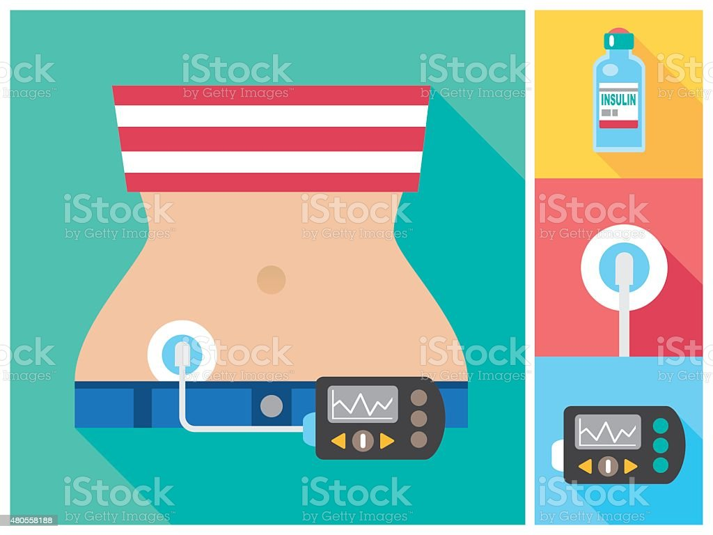 Woman wearing Insulin Infusion Pump Flat Color Icon Set vector art illustration