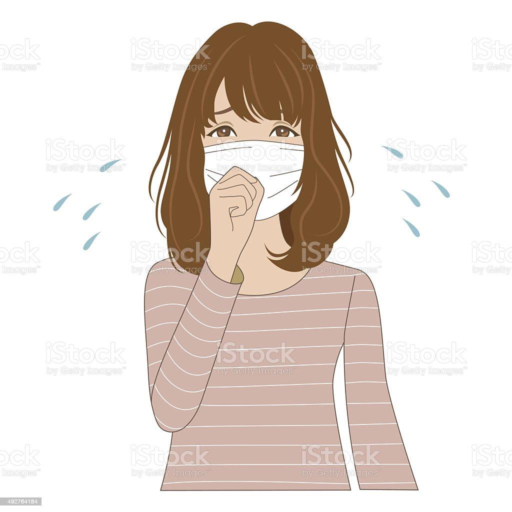 Woman wearing medical mask vector art illustration