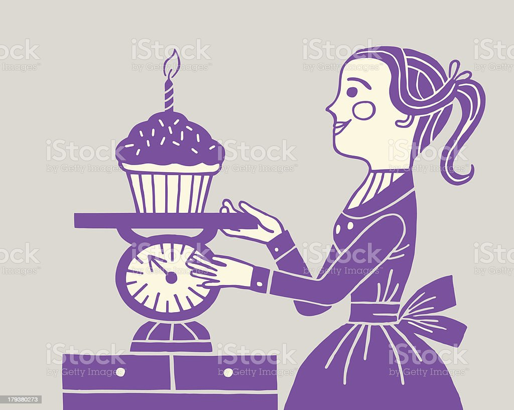 Woman Weighing Large Cupcake royalty-free stock vector art