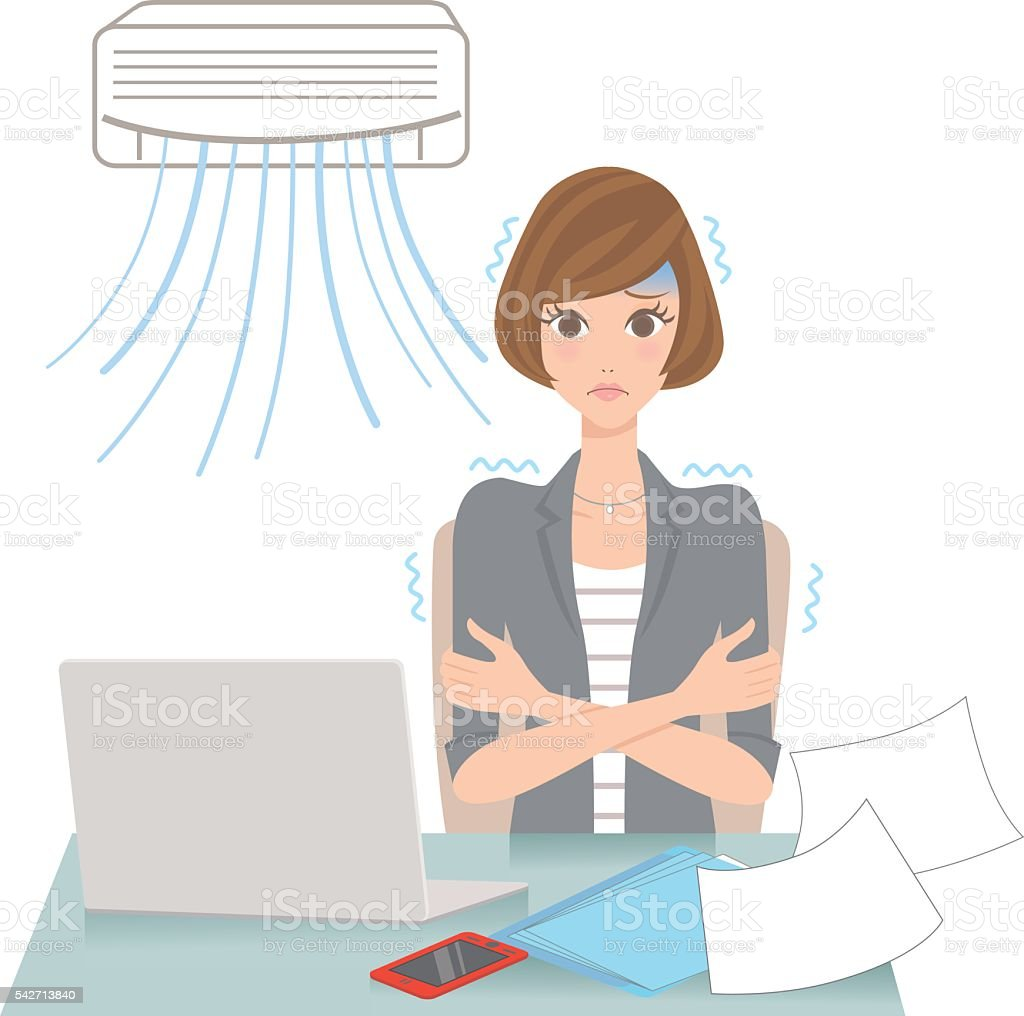 woman who gets cold with an air-conditioner vector art illustration