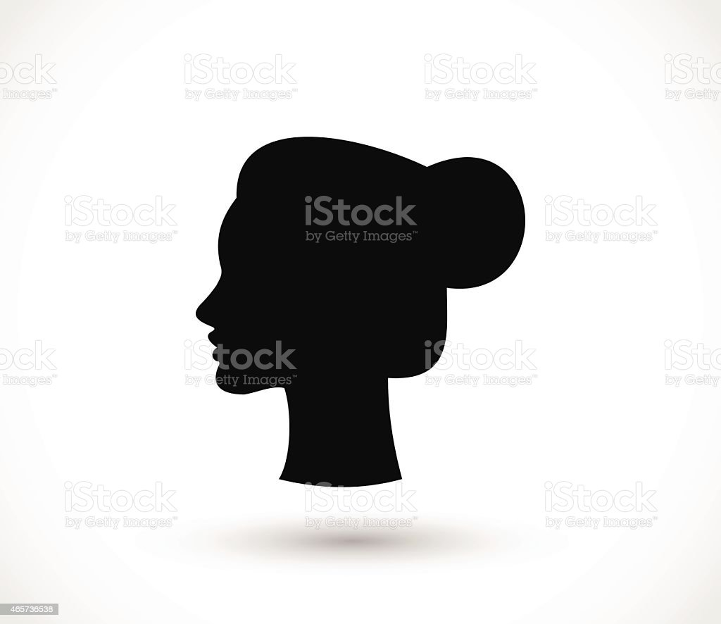 Woman with a bun black silhouette vector illustration vector art illustration