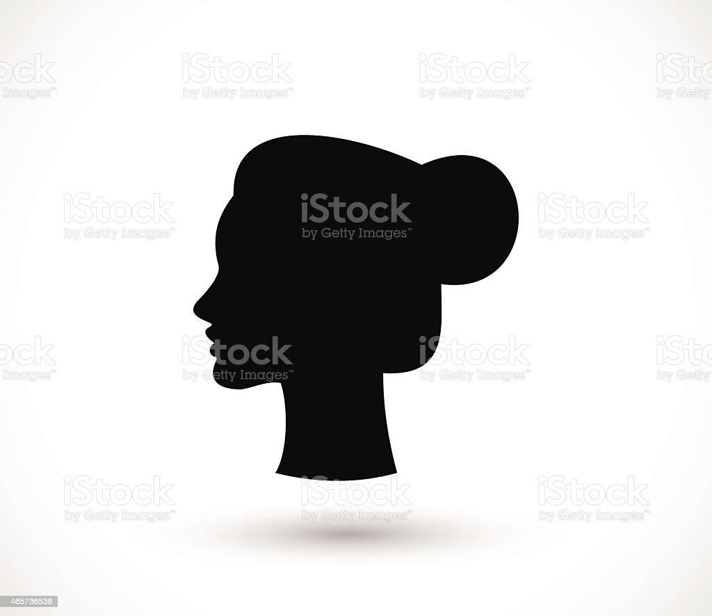 Woman with a bun black silhouette vector illustration vector art illustration
