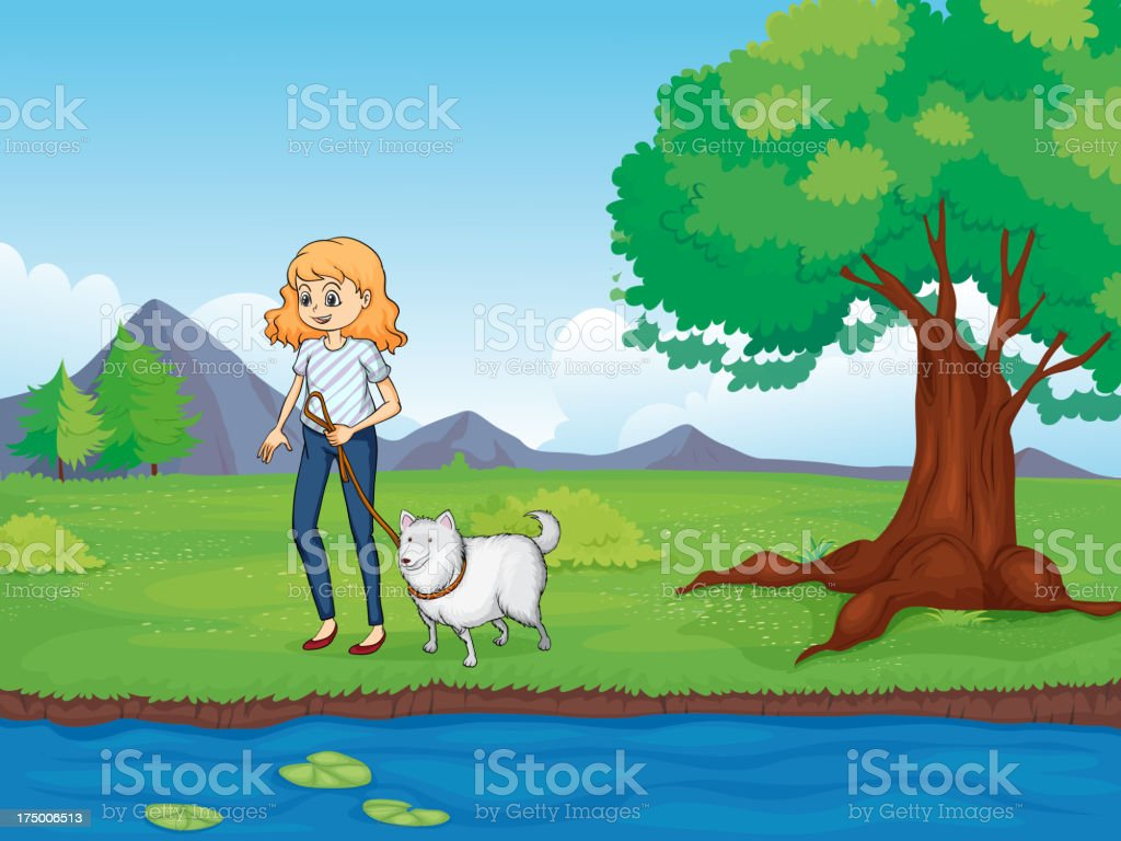 Woman with a dog walking along the river royalty-free stock vector art