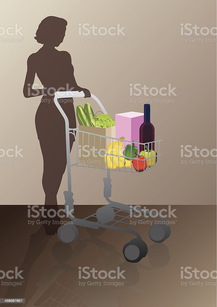 woman with a shopping cart royalty-free stock vector art