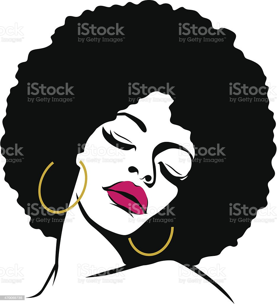 woman with afro hair vector art illustration