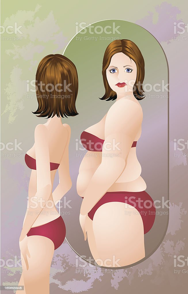 Woman with anorexia or bulimia in a swimsuit royalty-free stock vector art