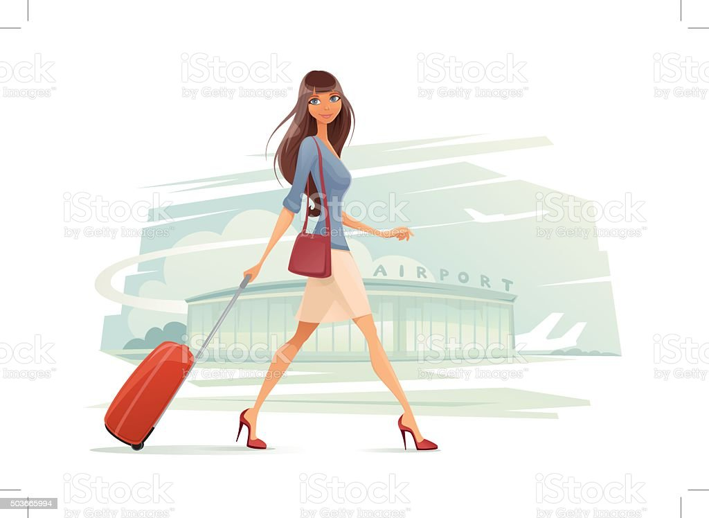Woman with Baggage vector art illustration