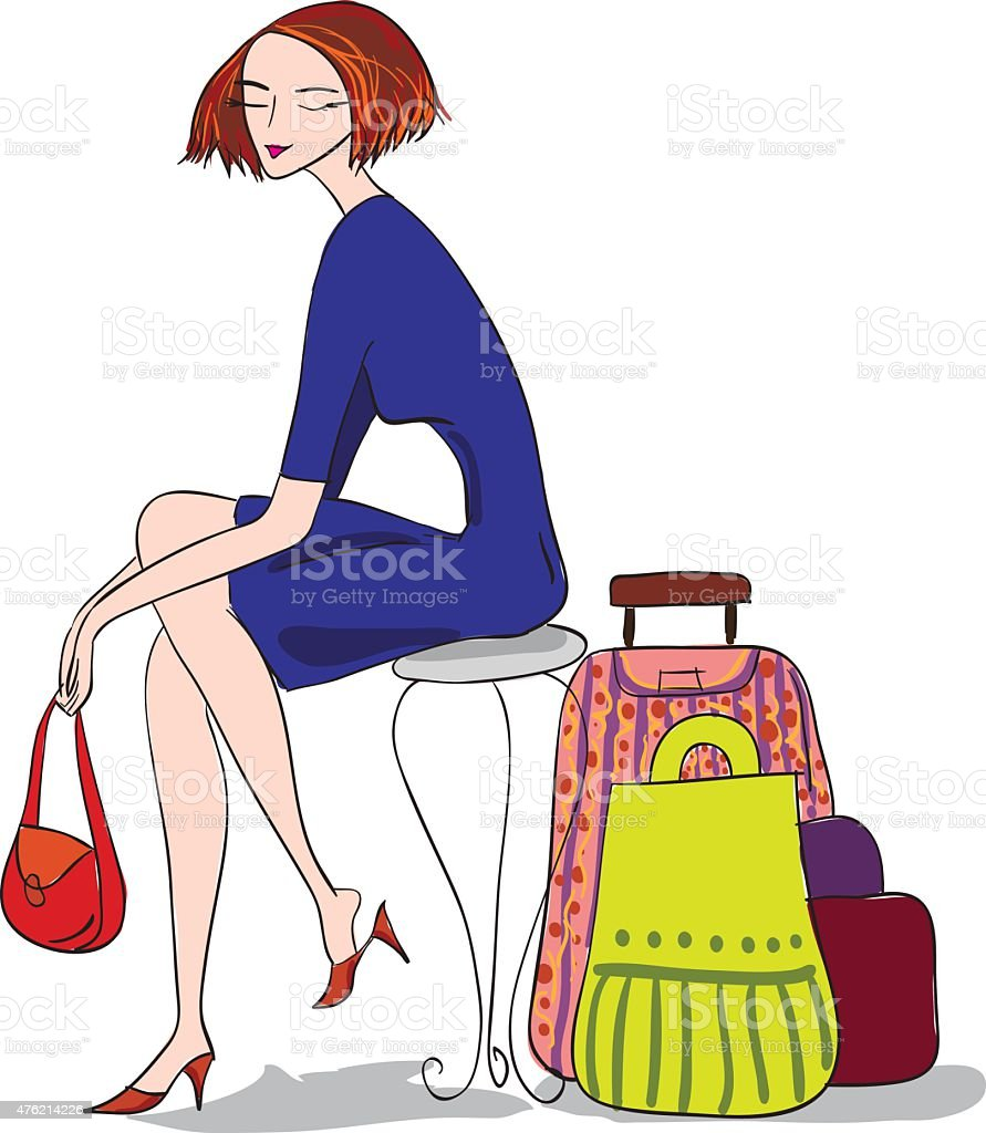 Woman with bags vector art illustration